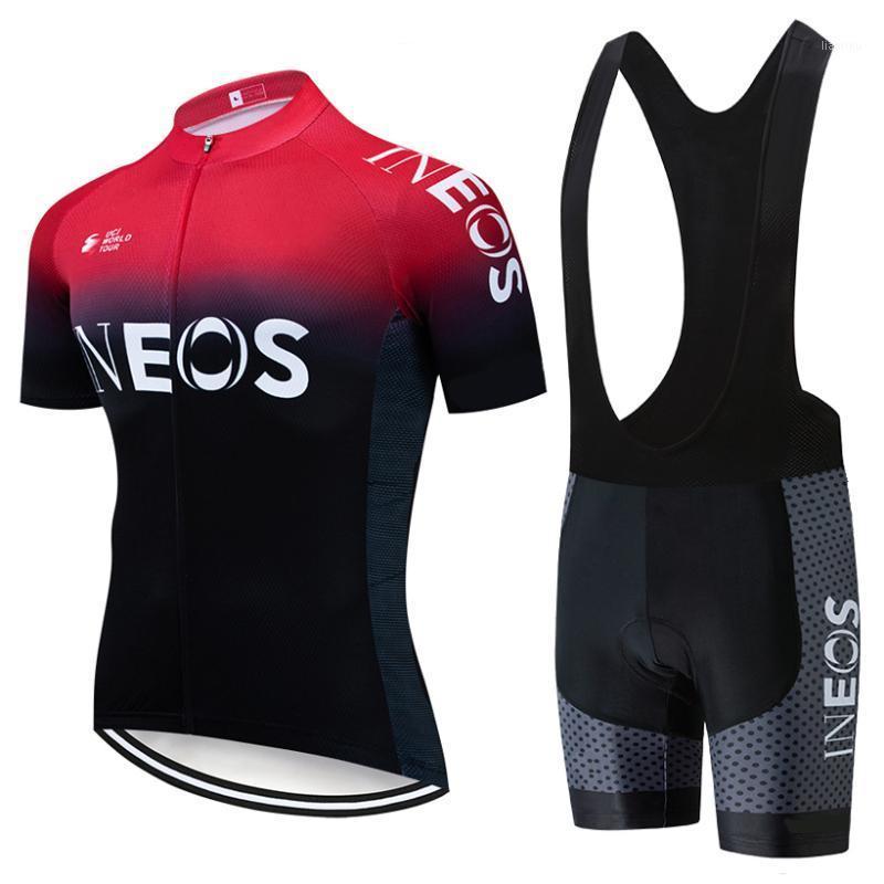2019 equipo negro rojo ciclismo jersey baberos pantalones cortos traje ropa ciclismo hombre verano seco rápido bicicleta maillot wear1