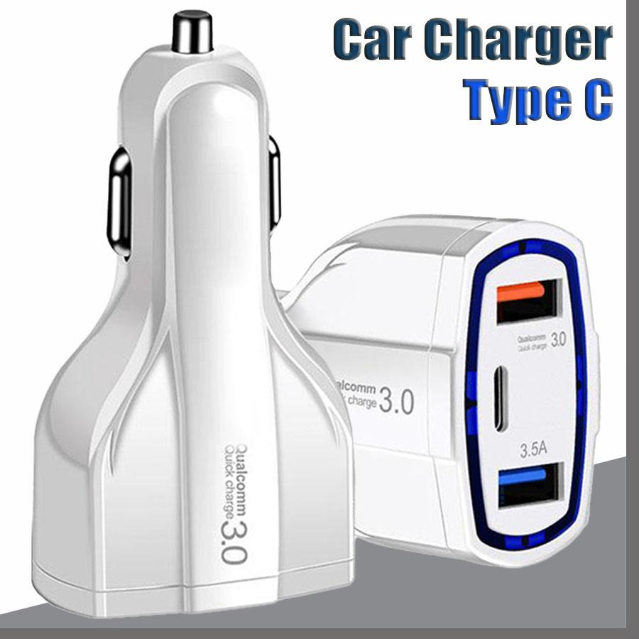35W 7A 3 Ports Car Charger Type C USB QC 3.0 With Qualcomm Quick Technology For Mobile Phone GPS Power Bank Tablet PC