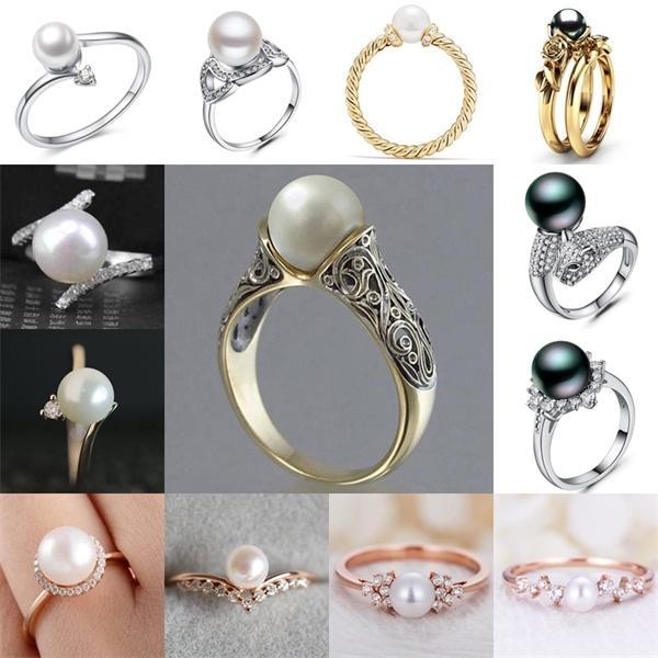 Anelli di perle simulati romantici di Huitan per le donne Anniversario di cittadino di lusso Accessori Anelli di fidanzamento per femmina all'ingrosso L0220