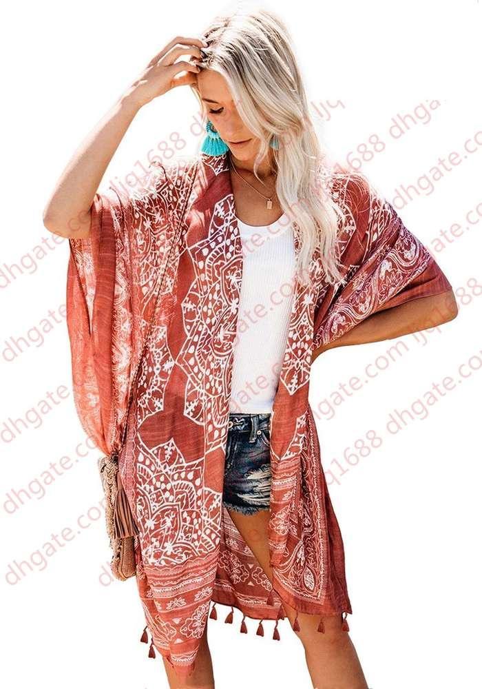Kadınlar Çiçek Baskı Bohemian Uzun Kimono Hırka Bluzlar Püskül Boho Tops Flare Kollu Rahat Plaj Tatil Bluz Gömlek Mayo Kapakları