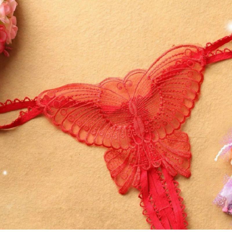 Смотреть через стрингу открытой промежностной вышивки бабочка G струна женские кружева сексуальное женское бельё прозрачное эротическое нижнее белье женские трусики