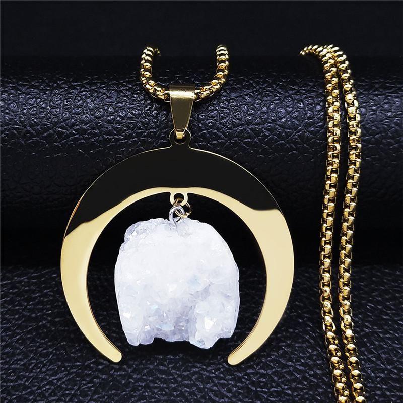 2021 Boho Moon Chocker Collier en acier inoxydable Cristal Naturel Couleur Or Colliers Longs Colliers Femmes Bijoux Femme NXS04