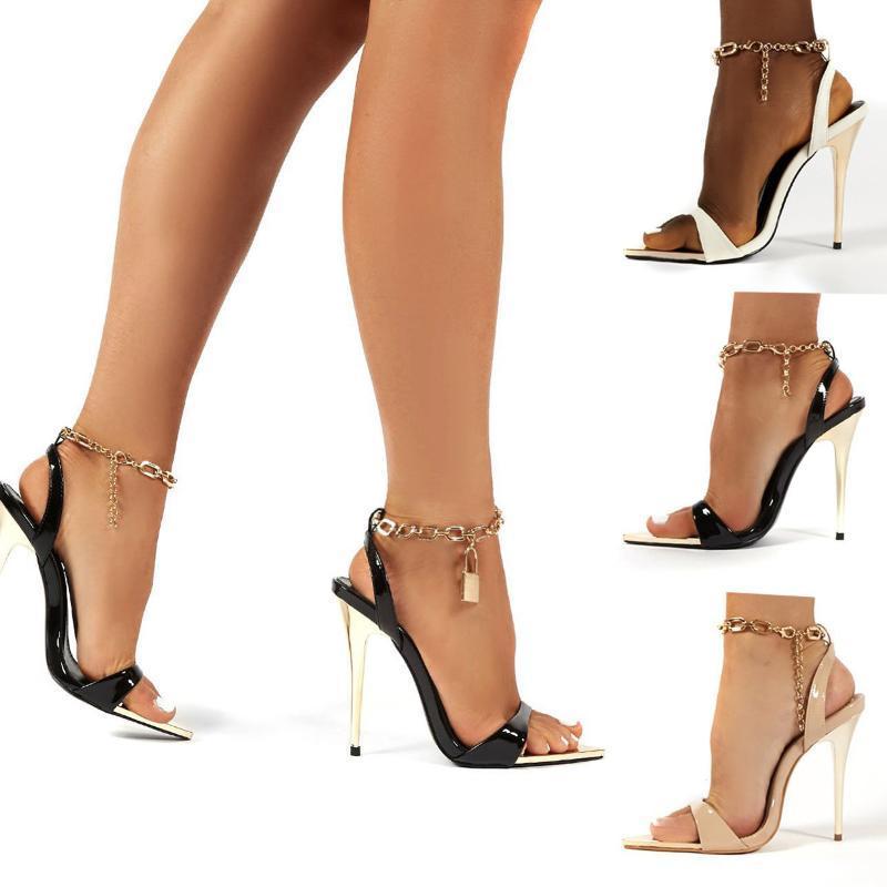 Ddyzhy 2021 Verano Nuevo Cadena Tobillo Tobillo Sandalias Mujeres Sexy Toe Abierto Tacones Altos Tacones Sandalias Hebilla Femenina Correa Zapatos de boda42