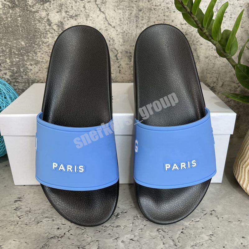 2021 Высочайшее качество Мужские Женские Сандалии Чаповые Трехмерные Шрифты Обувь Скольжения Летняя Мода Широкий Плоский Флип Флоп с коробкой