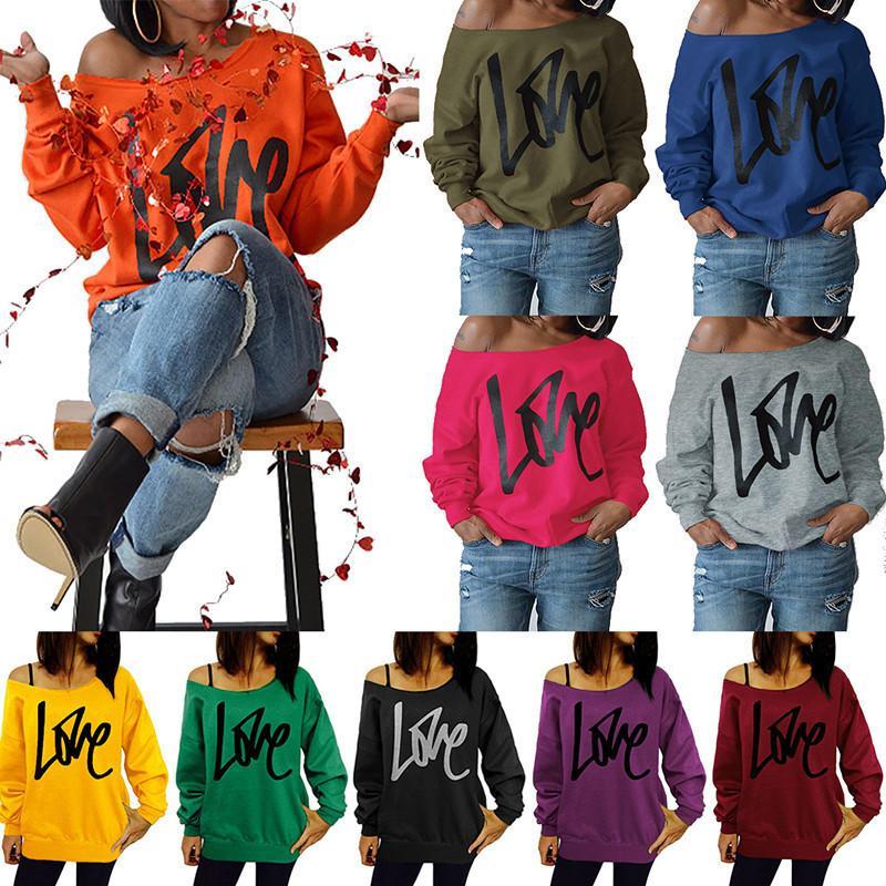 Frauen Designer Mode Kleidung Liebesbrief Gedruckt Langarm Pullover Sexy Undichte Schulter Frauen Top 10 Farben Die neue Liste