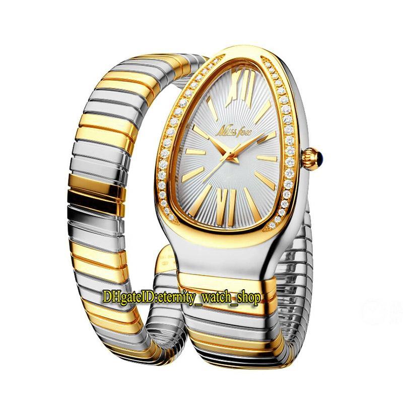 MissFox 2686-1 Moda Lady Relógios Branco Dial Movimento Quartz Womens Watch Gelado Out Diamonds Bezel Caso Caso Duplo Duplo Tone Ouro Prata Silver Loop Pulseira