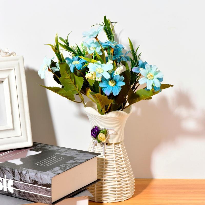 Dekorative Blumen Kränze 6 Gabeln / Blumenstrauß Künstliche Home Gefälschte Chrysanthemeblatt für Hochzeit Braut Bouquet Gartendekor