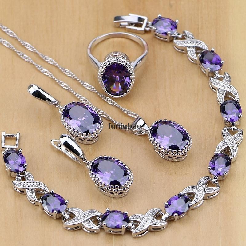 Doğal 925 Gümüş Takı Mor Kübik Zirkonya Beyaz Kristal Takı Setleri Kadınlar için Küpe / Kolye / Kolye / Yüzükler / Bilezik T190705