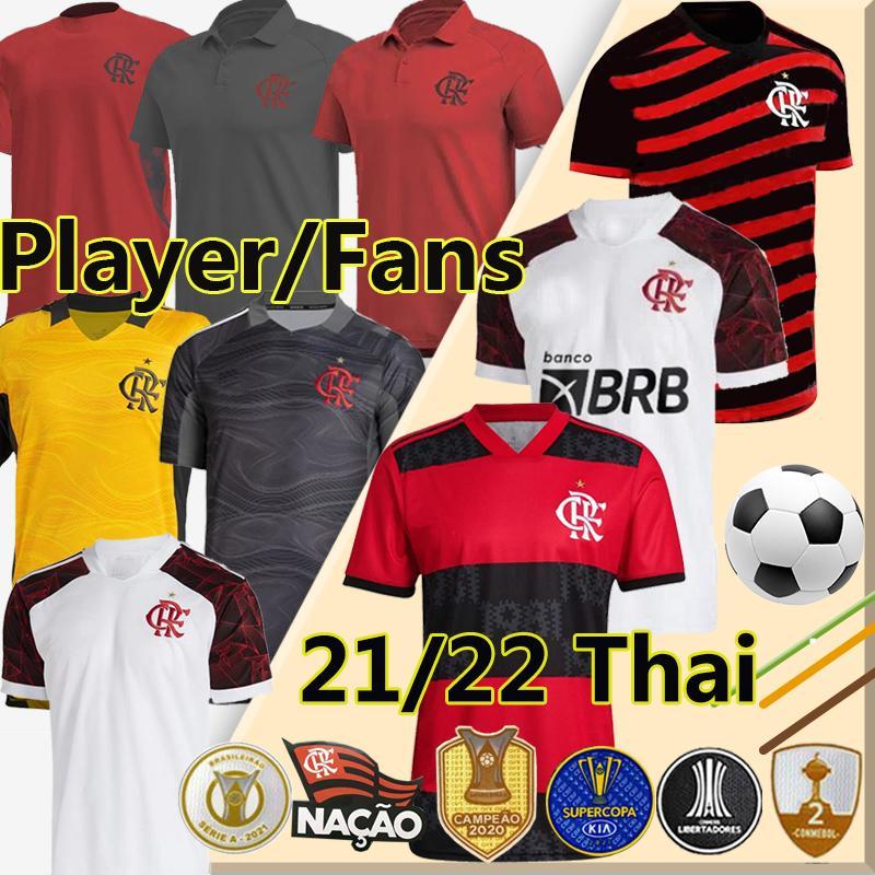 Novo Polos Treino Camisetas 2021 2022 Flamengo Fãs Jogador Versão Jerseys Rosa Gabriel B.Henrique de Arrascaeta Diego E.Ribeiro Gerson Homens crianças kits Camisa de futebol