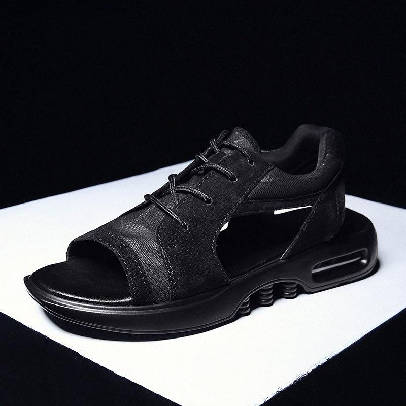 Feuer Männer Sommerschuhe Trend Sandalen Mode Männliche Sandalias Strand Schuhe Weiche Unterseite Atmungsaktive Müßiggas Mans Lace Up Mesh Wohnungen Z4z5 #