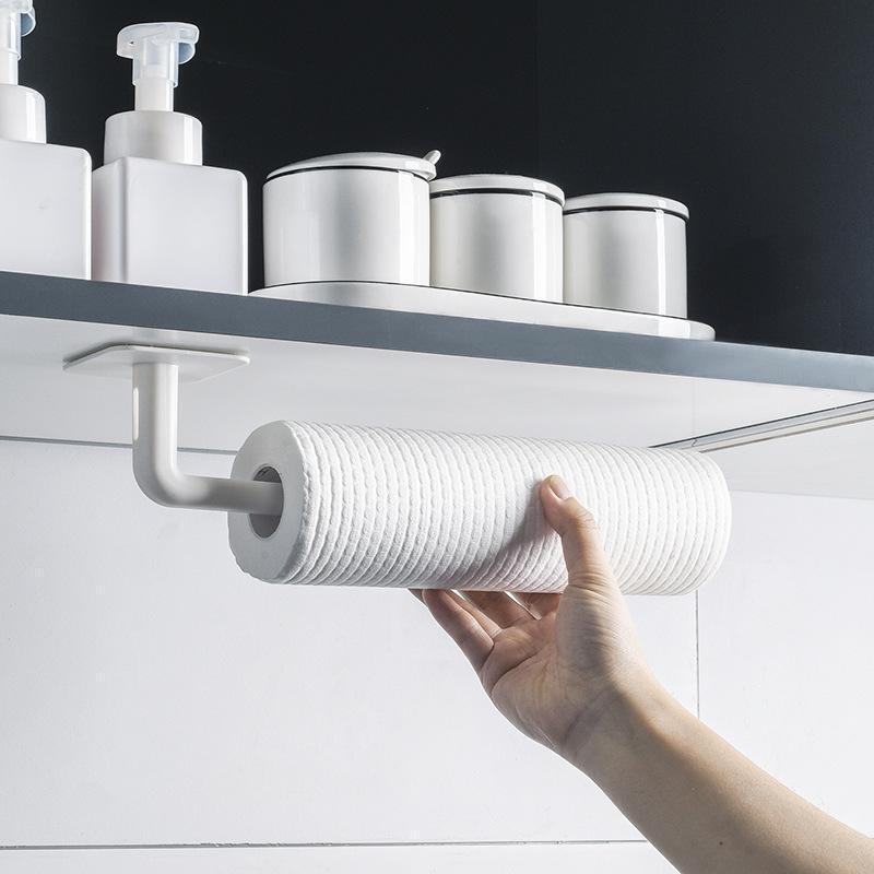 주방 스토리지 조직 1PC 자체 접착 액세서리 아래 캐비닛 종이 롤 랙 수건 홀더 티슈 옷걸이 욕실 화장실