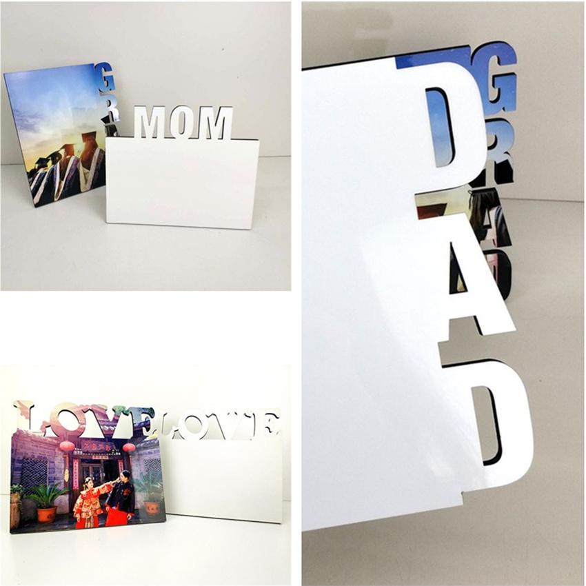MDF التسامي إطار الصورة فارغة diy حروف خشبية لوحة صور التسامي الأسرة البيضاء ألبوم المنزل ألبوم إطار نقل الحرارة عناصر عن طريق الهواء A12