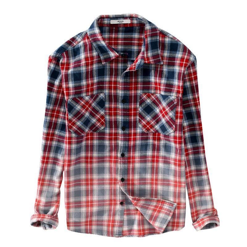 Italia estilo degradado de algodón hombres camisa plaid de manga larga de otoño y primavera camisas de moda camisetas de moda para la camisa de moda para la química informal