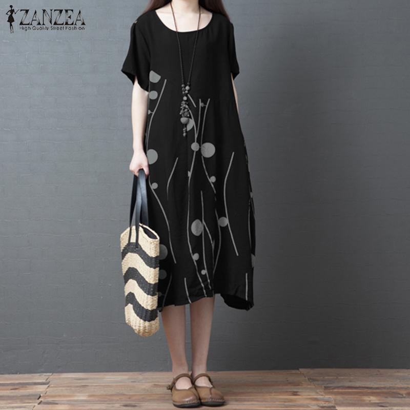 Vintage Baskılı Diz Boyu Elbise kadın Yaz Sundress ZANZEA 2021 Casual O-Boyun Kısa Kollu Tunik Vestidos Artı Boyutu Robe