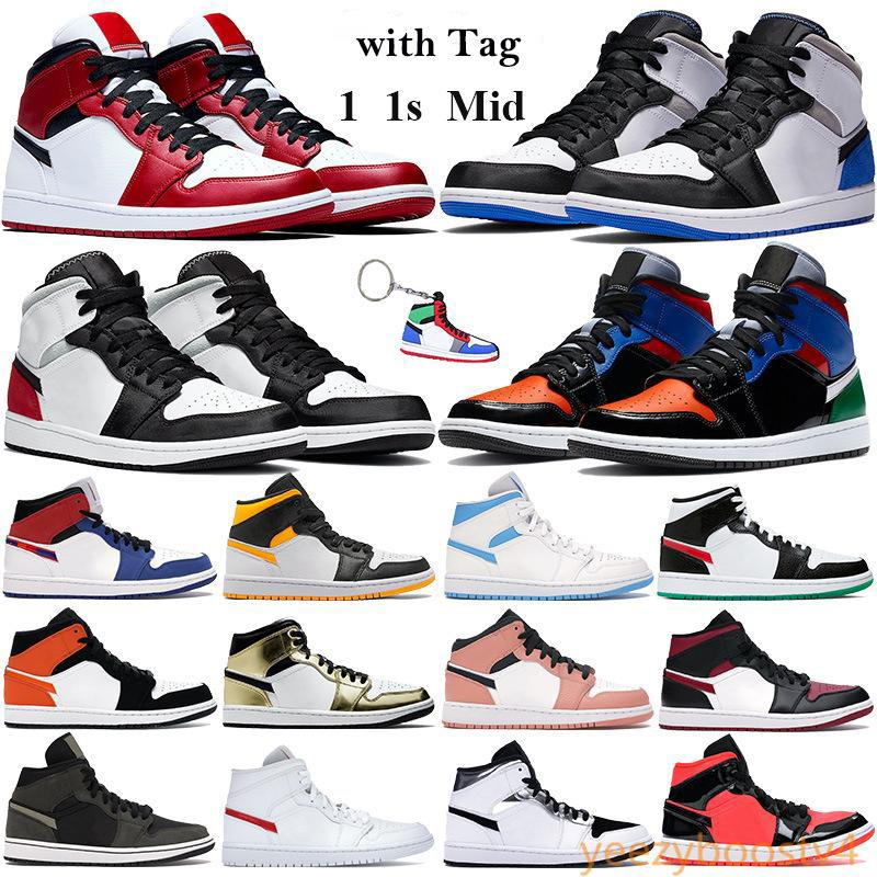 1 1 S Basketbol Ayakkabı Orta Chicago 2020 Orta Çok Patent Erkek Kadın Sneakers SE Beyaz Siyah Kırmızı Lazer Turuncu Siyah Trainers Anahtarlık