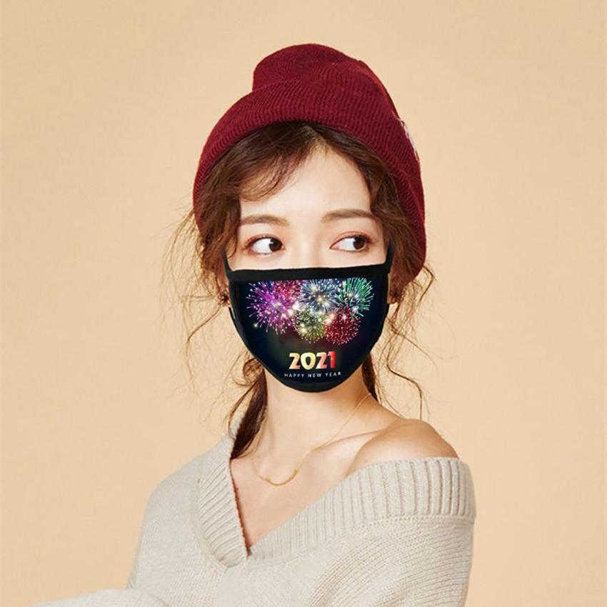 Máscara cara 2021 Feliz Navidad Año Nuevo Facenas Masque Masque adulto lavable reutilizable Máscaras de cara CYZ2909 10