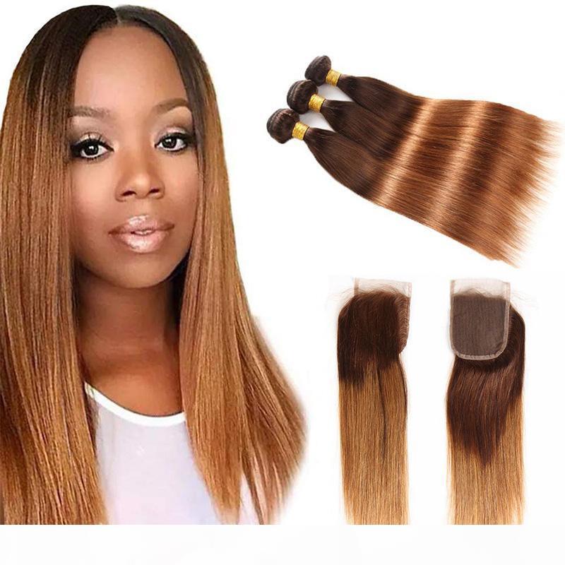 Ombre İki Ton 4 30 # Siyah ve Kahverengi İnsan Saç Dantel Kapatma Brezilyalı Perulu Malezya Düz Saç Demetleri 3 4 adet Kapatma ile