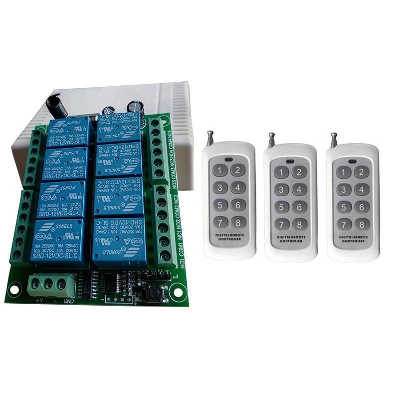 Smart Home Control Universal 433MHz DC12V 24V 10A Relais 8CH RF Wireless Radio Remote Switch Empfänger Sender Beleuchtungskraft