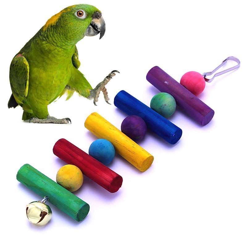 Evcil Kuş Papağan Çiğneme Tırmanma Oyuncak Pet Salıncak Tırmanma Merdiveni Ile Bell Asılı Renkli Ahşap Ile Renkli Topları Ile Pet Malzemeleri
