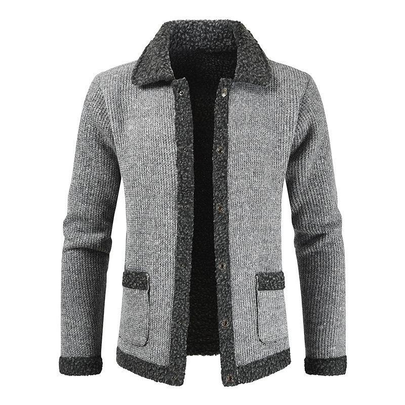 Rahat Kış Kalın Gevşek Polar Ceket Erkek Örme Hırka Erkekler Uzun Kollu Triko Kabarık Bej Kazak Erkek Artı F6na