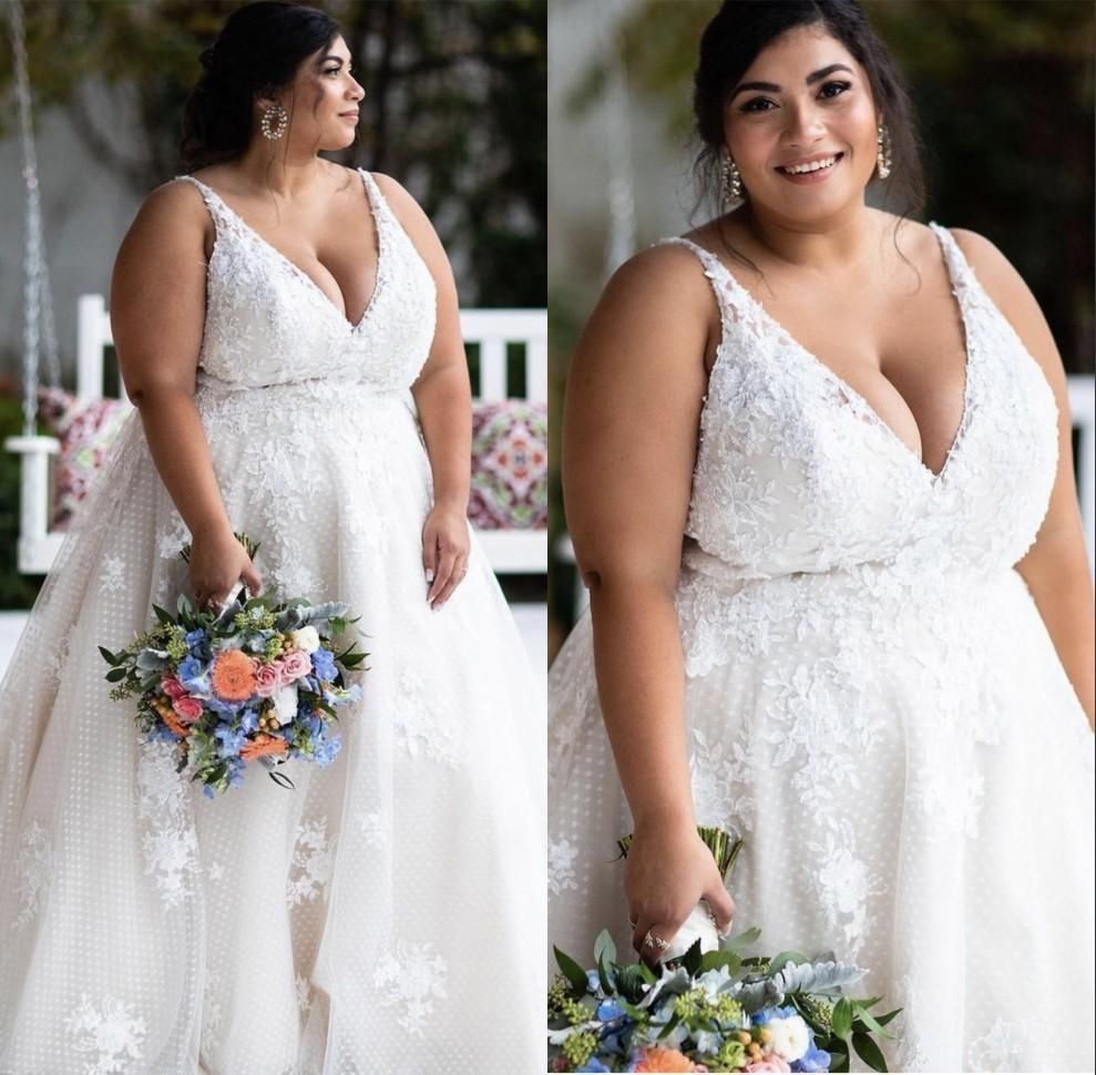 New Arrival Country Style Plus Size A Line Wedding Dresses V Neck Backless Lace Applique Floor Length Wedding Dress Bridal Gowns Robes