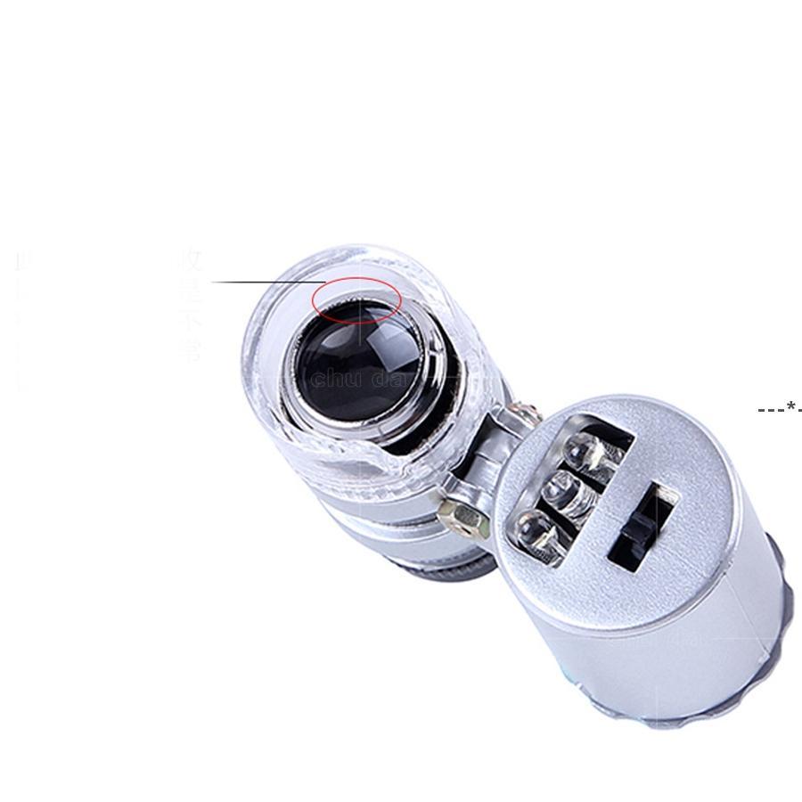 현미경 돋보기 미니 60X 핸드 헬드 통화 LED 및 자외선 및 색상 소매 상자 HWF9205