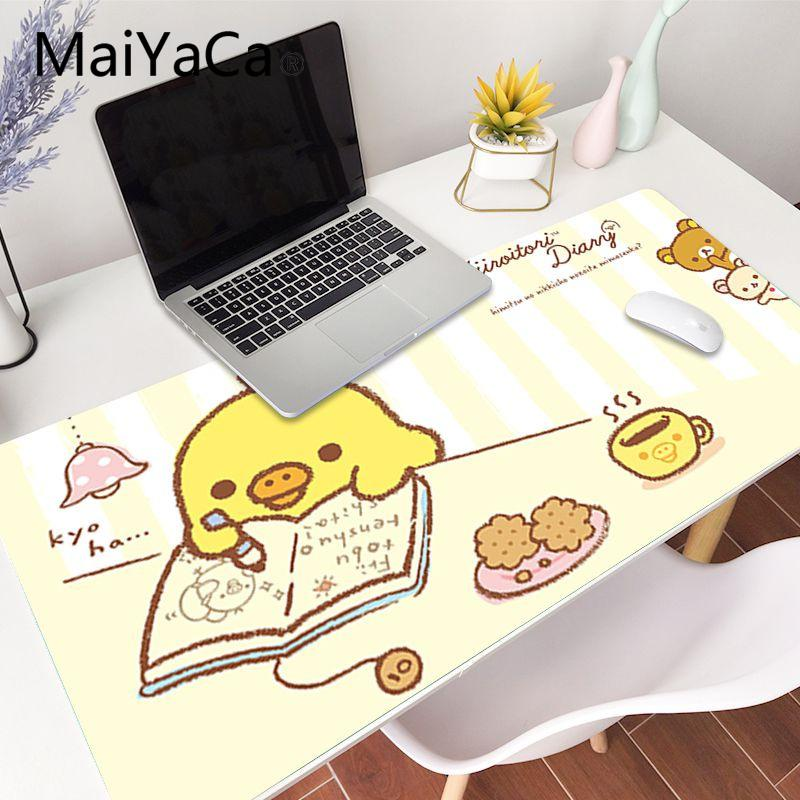 Maiyaca 90x40 سنتيمتر لطيف rilakkuma أكل الطعام المطاط الفأر دائم سطح المكتب الفأر شحن مجاني كبير ماوس الوسادة XXL لوحات المفاتيح حصيرة Y0308
