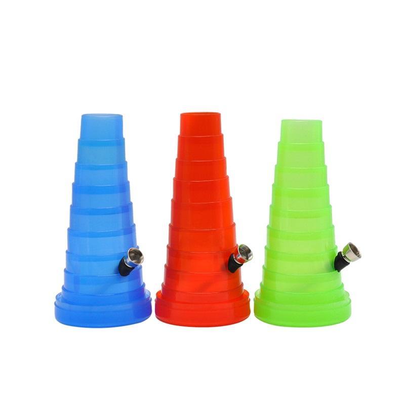 Acrílico Water Bongs Fumo Alongamento Torre Hookah Bolso Colaborável Viajando Bongo Bongo Plástico Bongo Flexível Tubulação de Água Rocket 307 v2