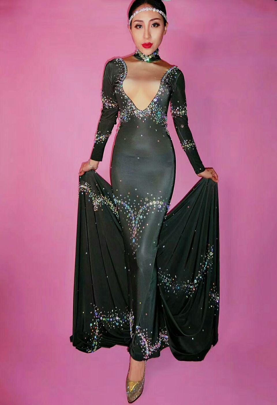 Sparkly красочный горный хрусталь длинное платье женщин сексуальный хвост черный корпус платье женское певец костюм день рождения вечеринка ночное клуб платье