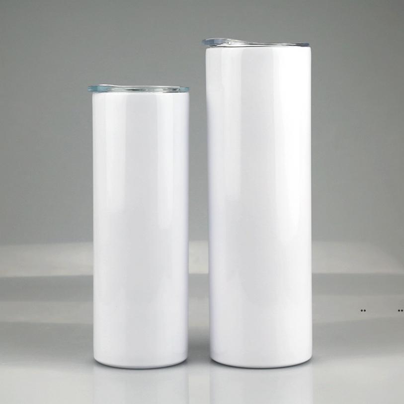 20Oz 30 Unzen Sublimation Gerade dünne Tumbler Edelstahl leeres weißes dünnes Tasse mit Deckel Strohzylinder Seeversand FWB5400
