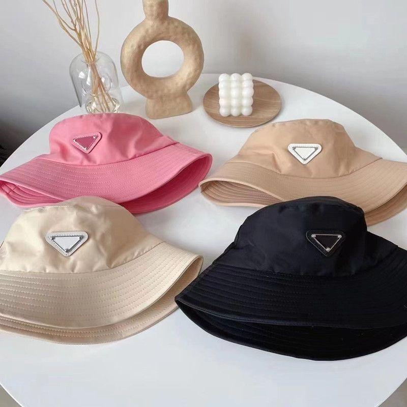 디자이너 모자 고전 편지 인쇄 여성 어부 양동이 모자 여름 태양 공 캡 4 색