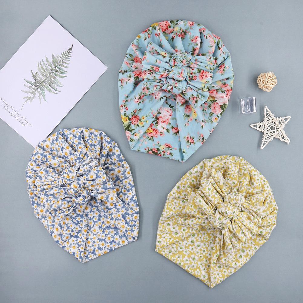 INS 10 Colors Baby Hats Polka Dots Flowers Plaid Leopard Print Three Bow headbands Elastic Cotton Hair accessories Beanie Cap Multi color