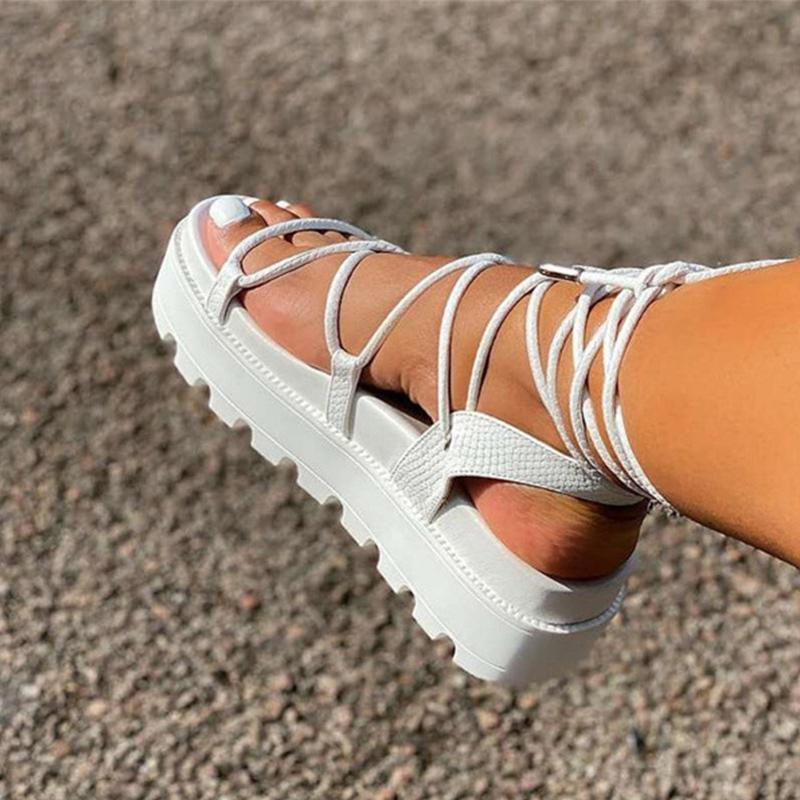 امرأة الصنادل المصارع السيدات الكاحل التفاف أسافين المرأة منصة الأحذية النسائية الأزياء الدانتيل يصل أحذية النساء الأحذية زائد الحجم 43 J2023