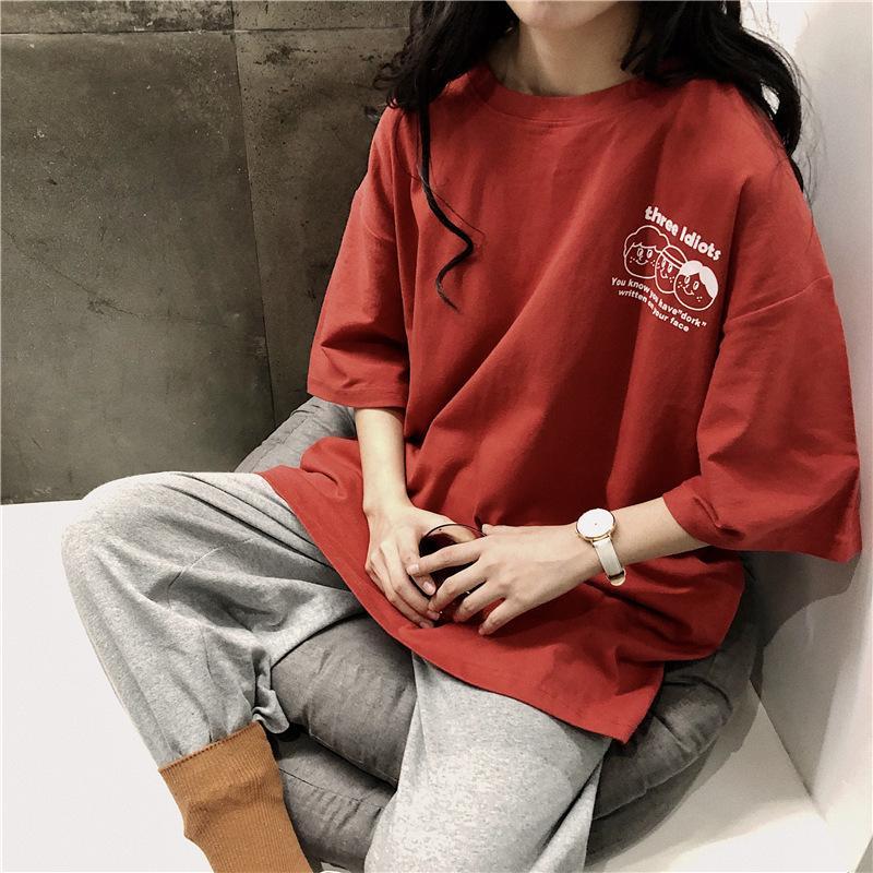 Fashion Brand Short T-shirt Female 2021 New Loose Korean Half Sleeve Harajuku Strange Taste Top Body