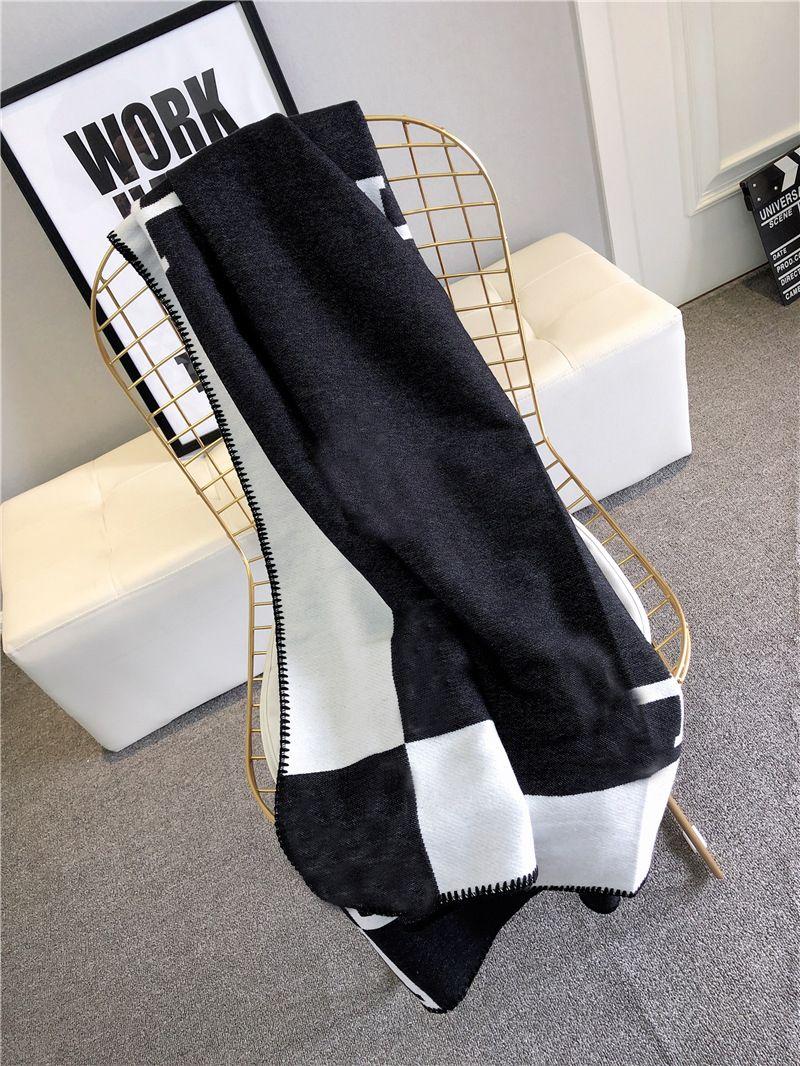 140x170 cm letra H Manta de cachemira Crochet Sofá de lana suave Mantón portátil Cálido Tela Escocés Sofá Viaje Fleece Paño Mantas de punto Toalla
