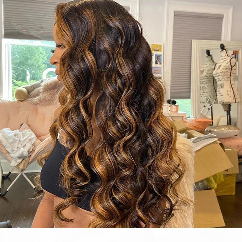 Highlight ombre Human Hair Wigs body wave Pre Plucked Lace Front Human Hair Wigs Ombre Remy Frontal Wig For Black Women 150%