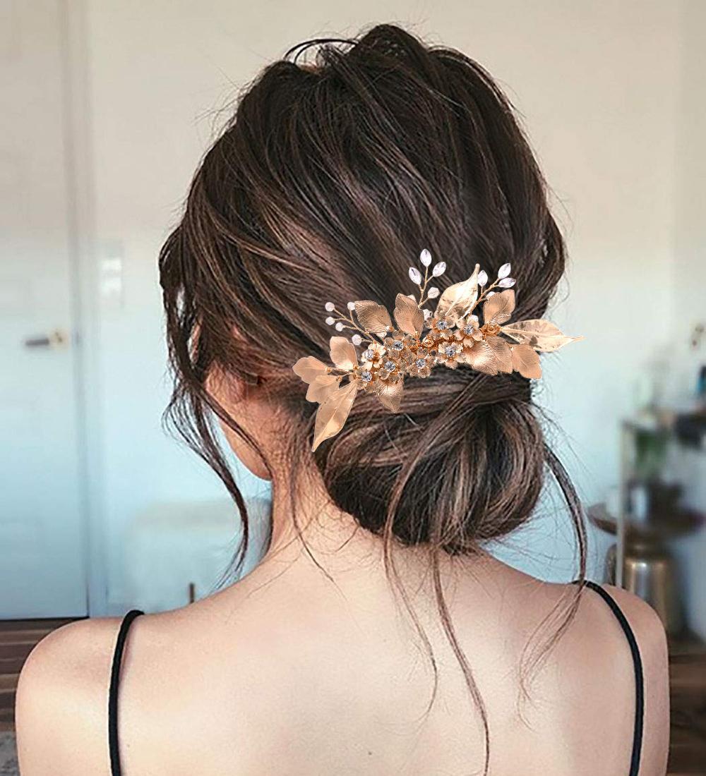 ZMHP297 altın yaprakları gelin şapkalar moda düğün headdress gelin saç pimleri için el yapımı klipler aksesuarları kadın çelenk