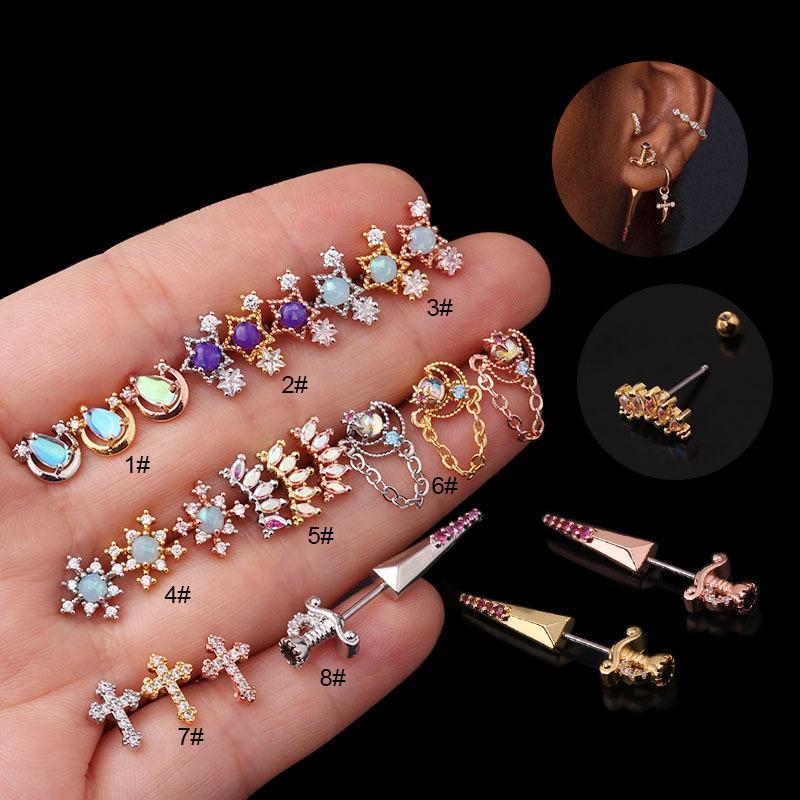 1PC 20G Flower Cross Stainless Steel Barbell Cz Tragus Cartilage Earrings Multicolor Crystal Stud Earring Piercing Jewelry