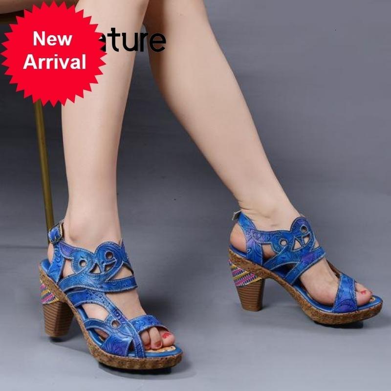 Johnature tacchi alti retrò scarpe da donna 2020 Nuova primavera estate vera pelle sandali da cucire per cucire a mano