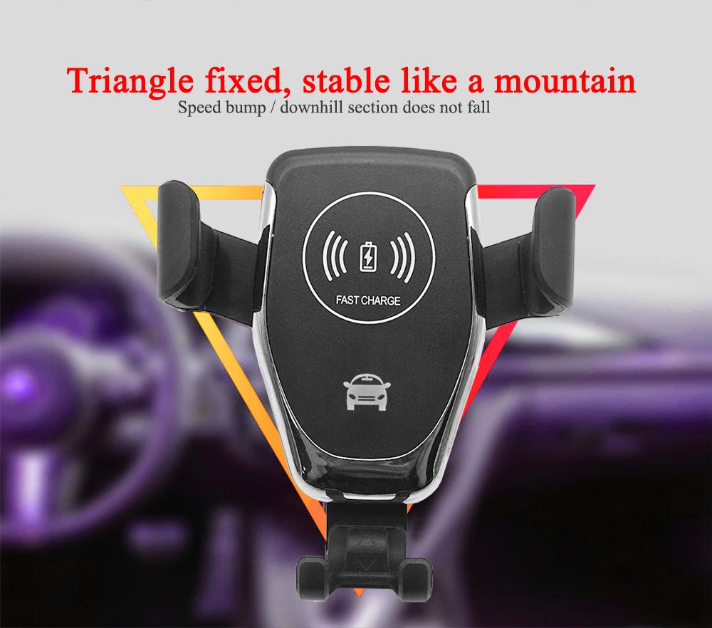 Q12 Air Vent Vent Mount Titular do Telefone Móvel Qi Carregador Rápido Carregador Rápido Bloqueio automático por Gravityhot Produtos de venda