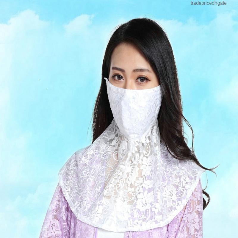 Солнцезащитная маска женские маски на открытом воздухе летние анти УФ-девушка охватывает лицо тонкого дышащего пылезащитный туман шеи шаль кружева вуаль b2x6