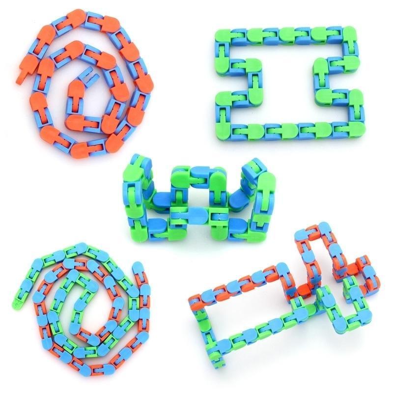 Çocuklar Yetişkinler Wacky Tracks Fidget Dekompresyon Oyuncak Yılan Parmak Oyuncaklar Parça Sıvı Bilezik Bisiklet Zinciri Arapsaçı