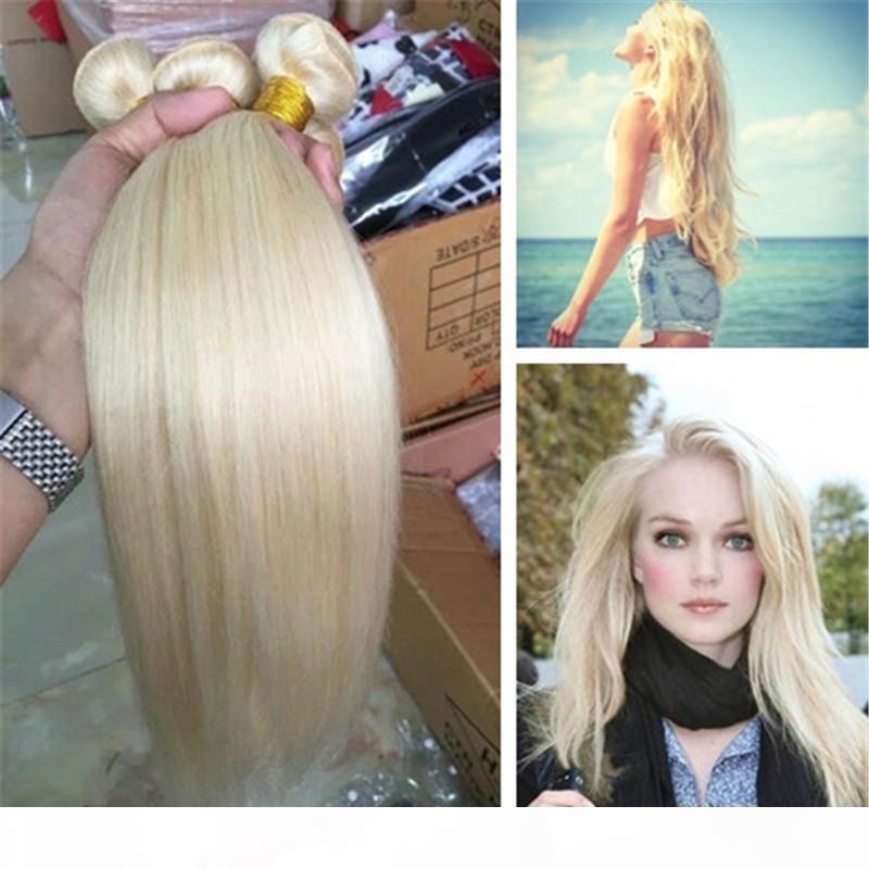 613 # Brasileño Rubia Human Hair Weags Straight Hair Trams Barato ruso rubio paquetes de pelo 3pcs lot
