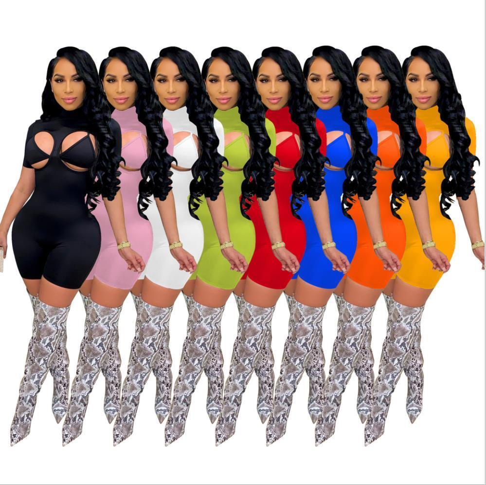 Women Jumpsuit Tight Sexy Shorts Onesies Rompers Round Neck High Neck Fashion Pullover Comfortable Clubwear free DHL