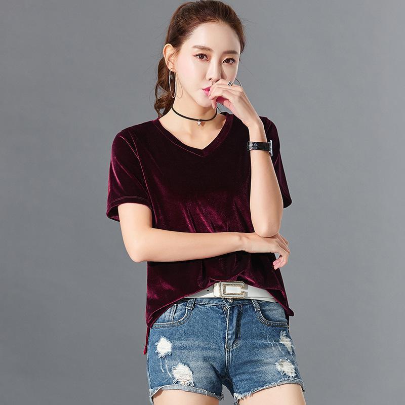 2021 Yaz Yeni Kadın Şort Kol 100% Pamuk Moda Rahat Bayanlar Tişörtleri M-XXL JYFC