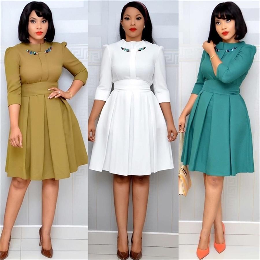 HGTE Afrika Bayanlar Elbise Sonbahar Ve Kış Zarif Kış 3/4 Kollu Diz Boyu Retro OL İş Bodycon Elbise 200922