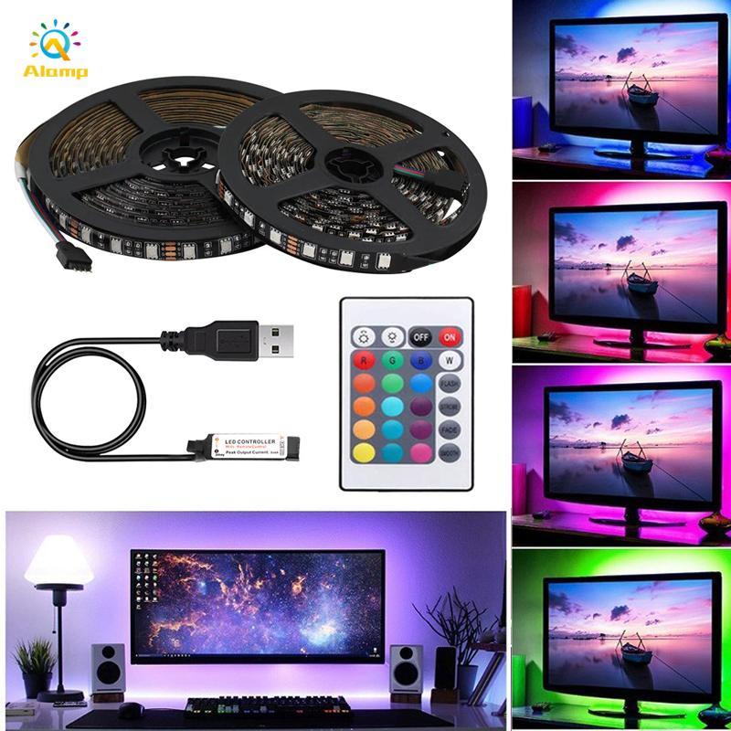 DC5V RGB LED قطاع ضوء 5050 ماء usb led قطاع 1 متر 2 متر 3 متر 4 متر 5 متر 60leds / م تلفزيون الخلفية مصباح الديكور مع جهاز التحكم عن بعد