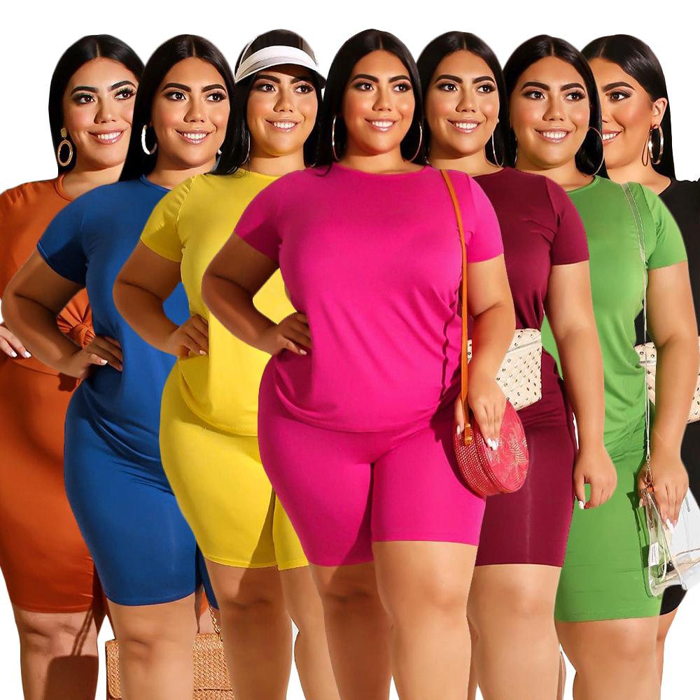 Summer Femmes Twoo Morceau Tenue Suivi des femmes Casual Couleur Solid Col V-Col V-shirt Suit Plus Taille Femme Vêtements XL-4XL