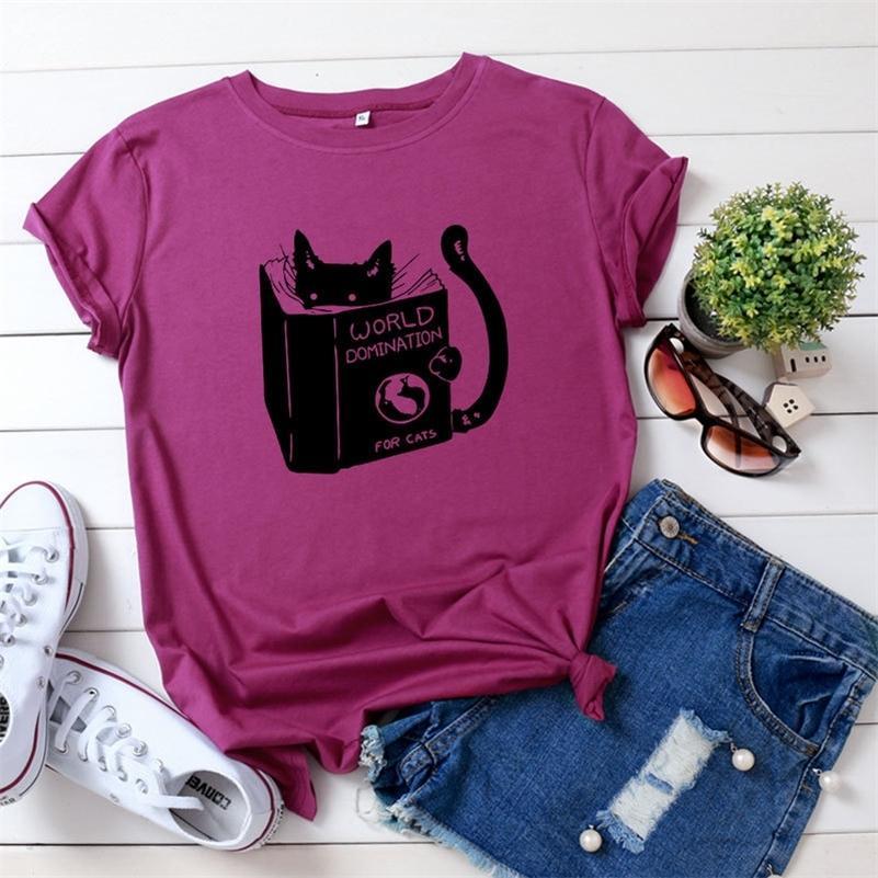 JCGO Женщины футболка Хлопок плюс размер 5XL летний милый мультфильм учебный кот печатает с коротким рукавом O-образным вырезом повседневные базовые Tshirts The Tees 210315