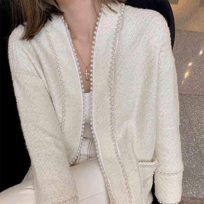 Women's Hoodies & Sweatshirts Váfl casacos femininos de inverno moda coreana estilo coleção jaqueta cardigã com duas fileiras miçangas manga comprida slim tweed XJS0